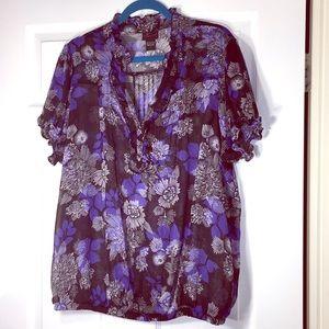 Torrid blue/black/white ruffle blouse